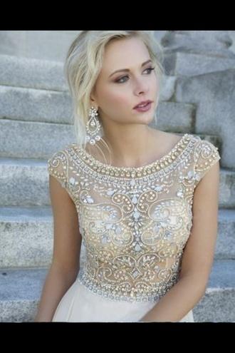 dress diamante sheer white skirt