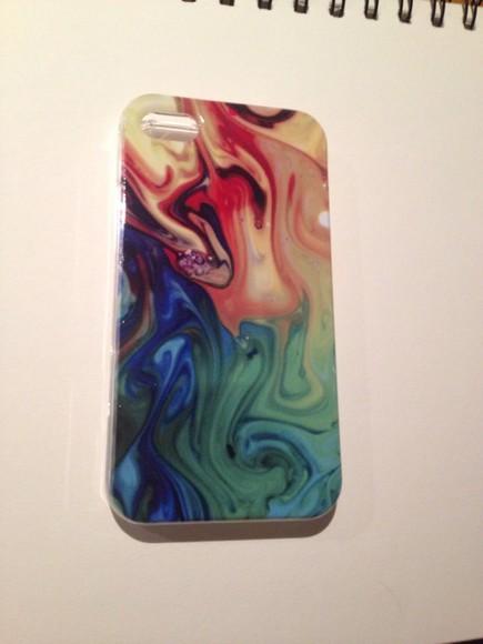 iphone case rainbow jewels iphone 4 case iphone 4/4s/5 iphone 4 / 4s / 5 case pattern swirls