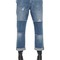 Distressed patchwork organic denim jeans