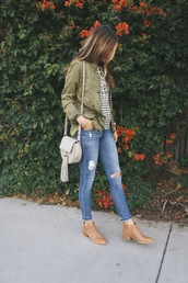 merrick's art // style + sewing for the everyday girl,blogger,top,jeans,shoes,jacket,bag,army green jacket,stripes,striped top,blue jeans,ripped jeans,grey bag,tassel,shoulder bag,fall outfits,flat boots,brown boots,pocket jacket