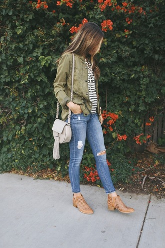 merrick's art // style + sewing for the everyday girl blogger top jeans shoes jacket bag army green jacket stripes striped top blue jeans ripped jeans grey bag tassel shoulder bag fall outfits flat boots brown boots