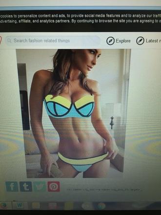 swimwear triangl bikini green blue