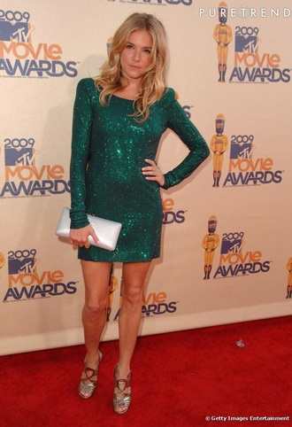 sequin dress green sienna miller celebrity style