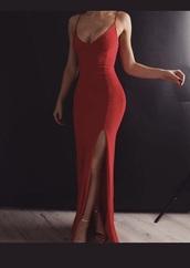 dress,red maxi prom dress,long dress,red dress,red prom dress,maxi dress,slit dress,red,long prom dress,mermaid prom dress