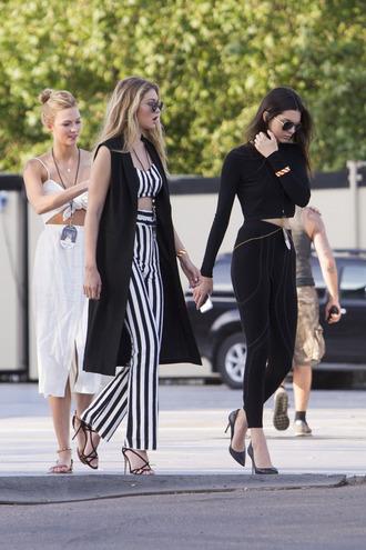 pants striped top stripes striped pants kendall jenner karlie kloss gigi hadid leggings dress white dress model off-duty