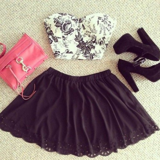 shirt white t-shirt black and white heels top bag