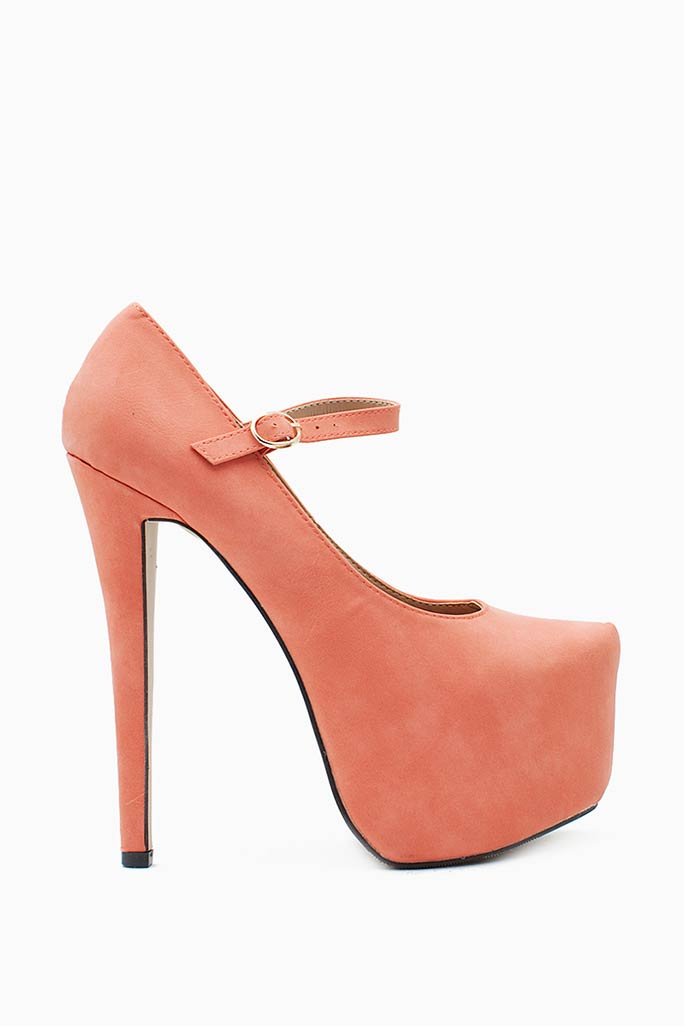 A'GACI Nelly 4 Nubuck High Platform Mary Jane - HEELS