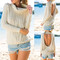 Sexy ladies stand neck backless long sleeve sweater pullover jumper top cardigan