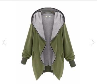 coat army green jacket jumper hoodie baggy