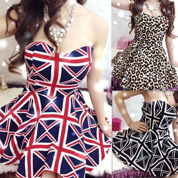 2014 Fashion women's Party Girl Sexy Club Asymmetrical Sleeveless Strapless Mini Skirt Dress Leopard print UK flag and black-inDresses from Apparel & Accessories on Aliexpress.com