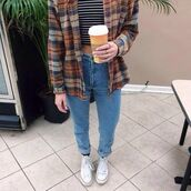 jeans,blouse,plaid shirt,flannel shirt,pants,cardigan,flannel,plaid,lose,casual,hipster,baggy pants,old,90s style,grunge,indie,boho,shirt,stripes,t-shirt,hippie,fashion,style,tribal cardigan,hippie shirt,jacket,blue mom jeans,high waisted,flanal,shoes,tennis shoes,coffee,plad,blue,orange,black,white,boyfrend,vintage,crop tops,top,tank top,cozy,sweater,cardigian,high waisted jeans,mom jeans