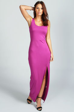 Cameron Scoop Neck Front Split Maxi Dress at boohoo.com
