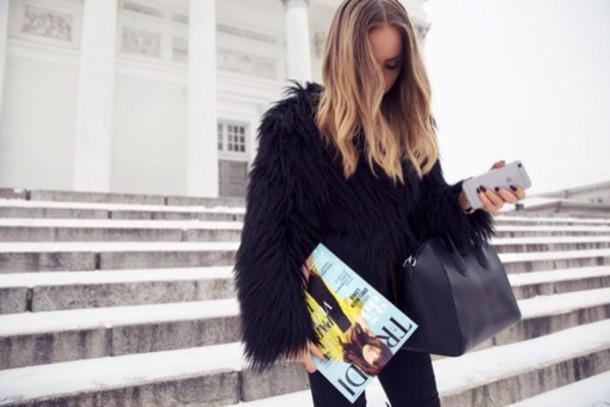 coat black coat fur coat