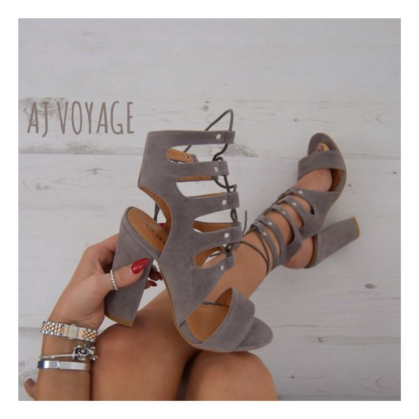 Shoes: grey, suede, heels, womens shoes, suede block heels, studs ...