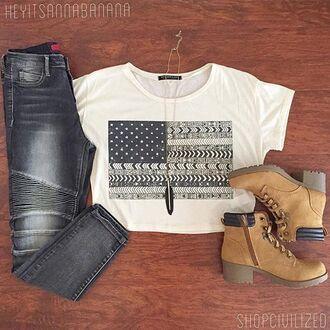 t-shirt crop tops flag denim jeans