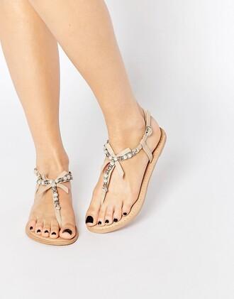 shoes embellished sandals flat sandals nude sandals