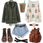 bag,backpack,shoes,socks,outfit,fashion,cute,beautiful,girl,jacket,shorts,starbucks coffee,watch,sweater,shirt,coat,roses,denim shorts,belt,light washed denim,denim,high waisted,High waisted shorts,boots,tights,flowers,vintage,brown,old,antique,green,white,blue,black,Khaki coat,jeans,loveit cute nice,pretty,blouse,floral sweater,army green jacket