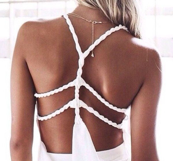 dress white dress shirt withe summer dress backless dress cute dress cut offs blouse top white white top details detailed back summer top summer outfits tank top braided back