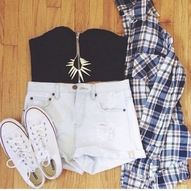 shorts vest converse jewelry pants