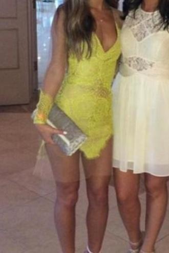 yellow lace lace dress yellow dress sheer sheer dress short party dresses short dress long sleeve dress