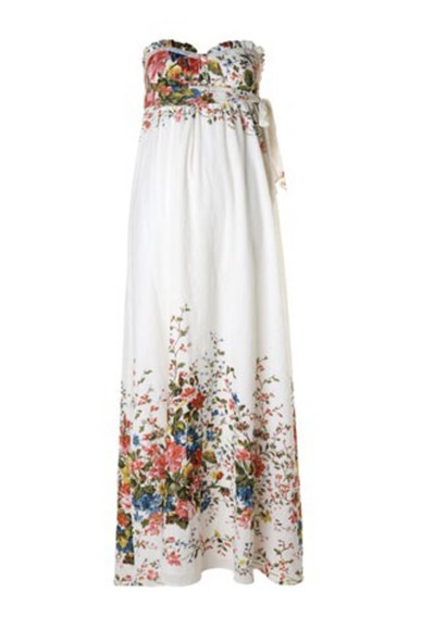 bustier dress strapless floral dress white dress