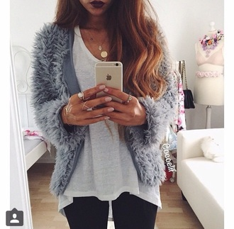 jacket luxury blue dress outfit instagram tumblr outfit white dress gold sequins fluffy iphone blue grey jacket hairy hairy jacket ring long hair jewels jewelry hand jewelry hand chain gold gold jewelry gold ring grey soft cardigan coat fuzzy coat cardigan fur fur coat elegant fall outfits