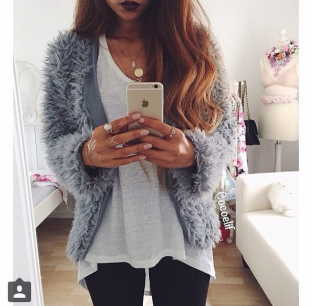 Jacket Luxury Blue Dress Outfit Instagram Tumblr Outfit White Dress Gold Sequins Fluffy