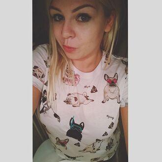 t-shirt yeah bunny white frenchie pugs pug lover dog dog print
