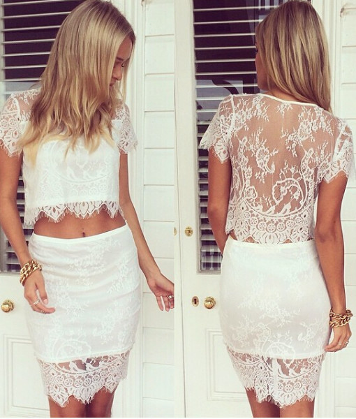 2014 Free shipping 2piec lace short-sleeved dress fashion perspective. TB 6346   Amazing Shoes UK