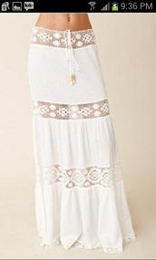 skirt,white skirt,see threw,boho skirt,boho,white,lace skirt,maxi skirt,hippie,summer