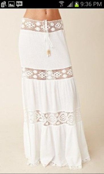 skirt white skirt see threw boho skirt boho white lace skirt maxi skirt hippie summer