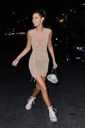 shoes,nude,nude dress,bella hadid,model off-duty,mini dress,bodycon dress,victoria's secret model