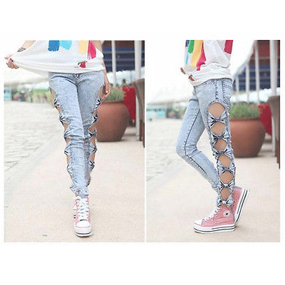 Women's Sexy Vintage Detailed Hot Side Bow Cutout Ripped Denim Jeans Leggings | eBay