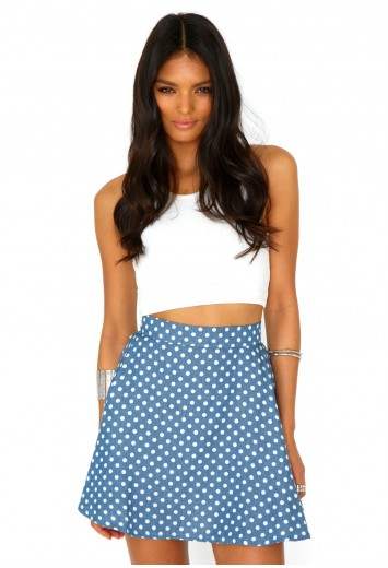 Naeva Denim Polka Dot Skater Skirt - Skirts - Missguided