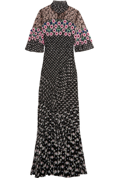 Peter Pilotto gown lace floral print silk black pink dress