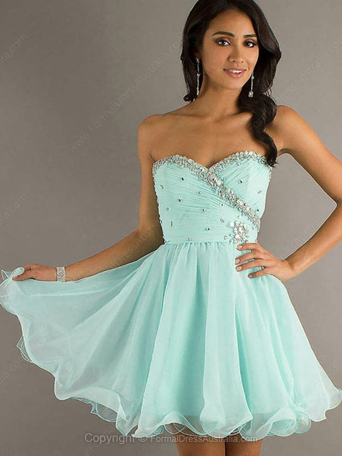 A-line Chiffon Sweetheart Rhinestone Short/Mini Formal Dresses-AUD$ 125.59