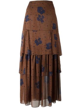 skirt maxi skirt maxi floral print brown