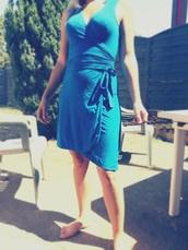 dress,wrap dress,robe,blue dress