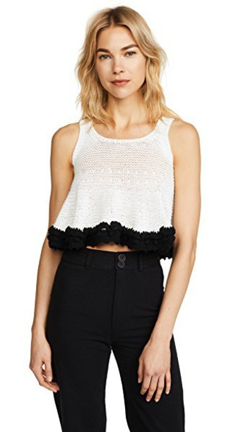 Apiece Apart crochet black cream top