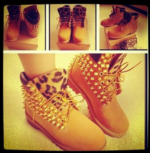 The Live Lick — Studded Cheetah print Timberlands