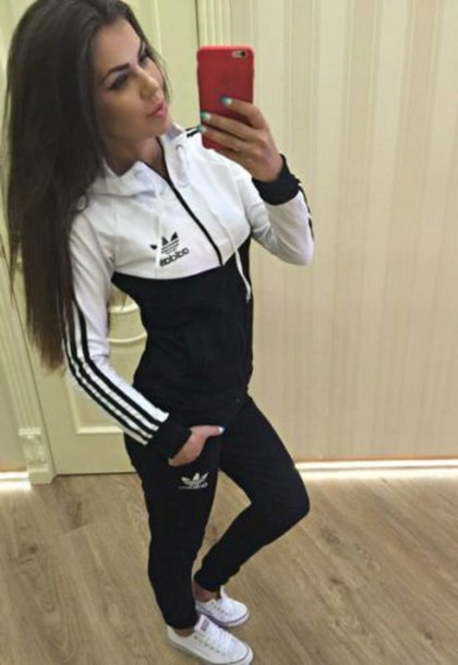 cfb9b3f41052 jumpsuit black and white adidas tracksuit adidas originals jacket black and  white sweater addias sweater leggings