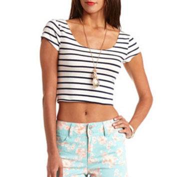 STRIPED SHORT SLEEVE CROP TOP on Wanelo