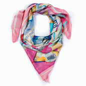 scarf,pink scarf,square scarf,silk scarf,alpha gypsy,collage,boho chic,artistic,romantic,the best valentine's day gift 2014,gift ideas,valentine's day gift idea,valentine gift for her,valentine's day,luxury scarf,valentine's day gifts,heart,hearts pattern