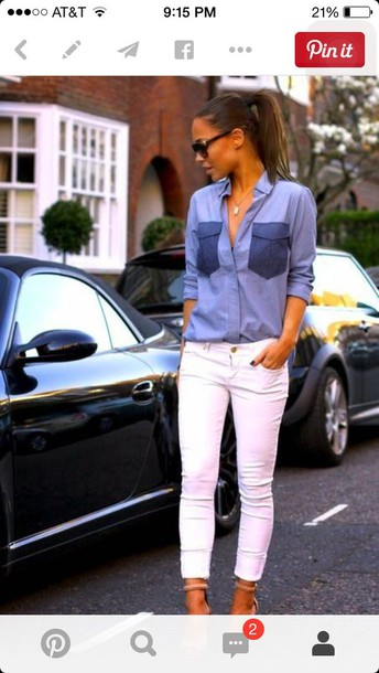 blouse blue shirt