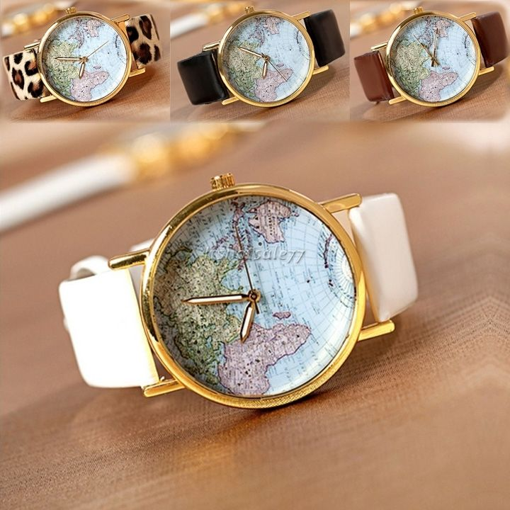 Vintage women world map globe fashion new leather alloy analog quartz watches