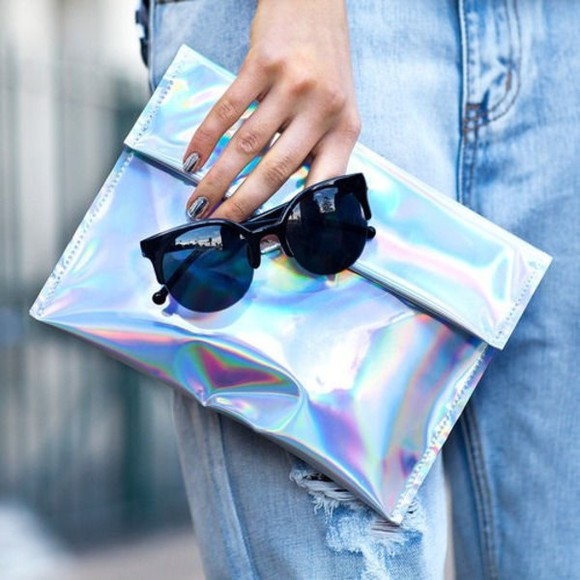 sunglasses cat eye bag tumblr tumblr bag metallic rainbow metallic metal