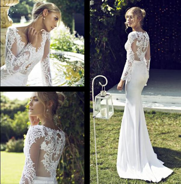 vintage, 2015, lace wedding dress, long sleeves, sheer bridal gowns ...
