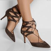 shoes,heels,lace up heels,brown,dark,dark brown,bow,suede,velvet,lace up,velvet shoes,ankle strap heels,ankle strap,sexy,sexy shoes,amazing,pretty,elegant,hollow out,stilettos