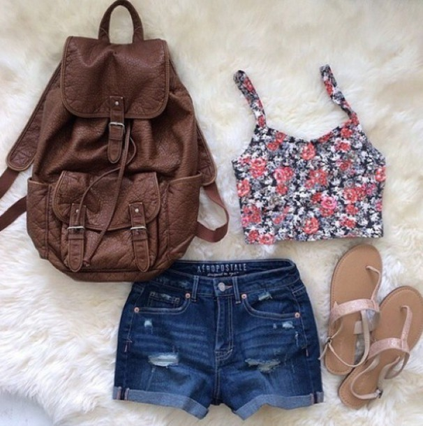 Top: crop tops, shorts, style, summer outfits, beach, backpack ...