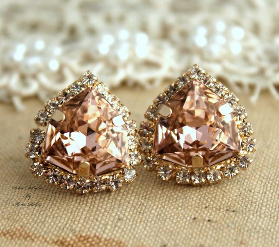 Rhinestone Crystal Vintage Pink stud earring by iloniti on Etsy